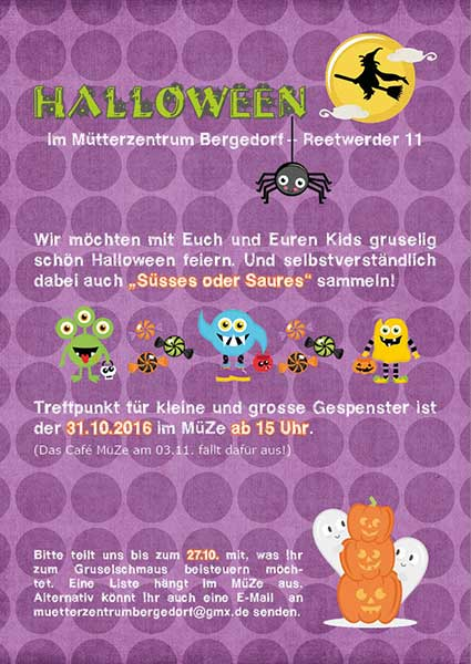 MüZe Bergedorf Halloween Aushang 2016